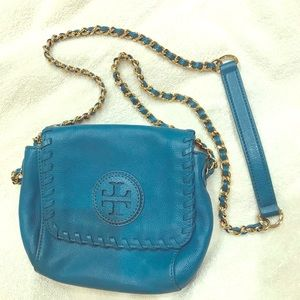 Tory Burch small cross body Turquoise with gold